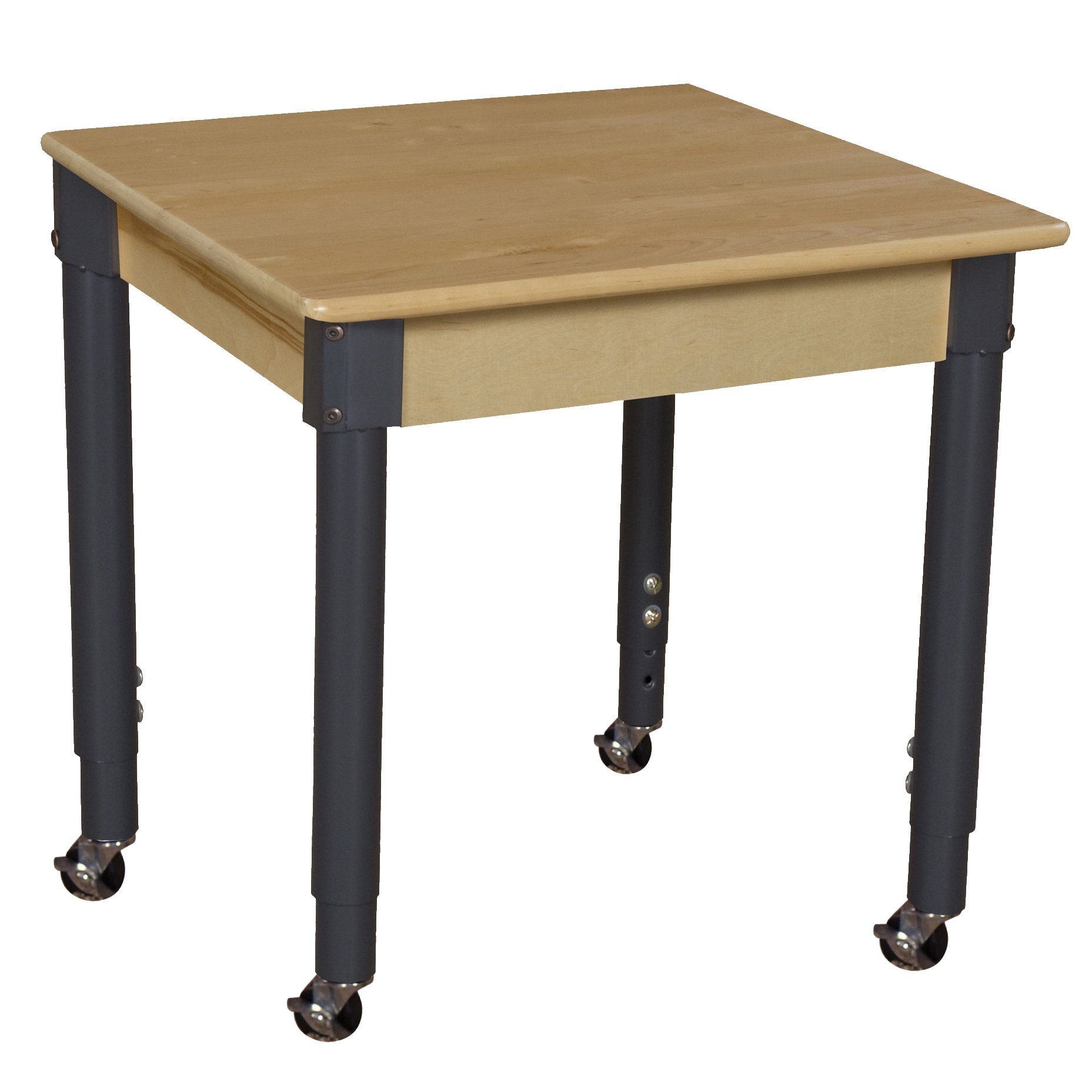 Wood Designs WD824A1829C6 Mobile 24'' Square Hardwood Table with 20''-31'' Adjustable Legs