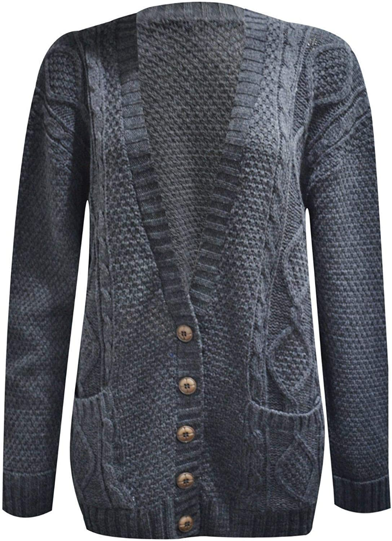 Womens Cardigan Chunky Long Sleeve Aran Cable Knitted Grandad Long Cardigan UK 8-22