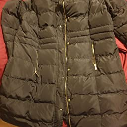 Spindle Women S Designer Winter Lined Parka Quilted Coat Fur Collar Hooded Long Ladies Womens Jacket Uk 10 Small Black Gold Amazon Co Uk Clothing