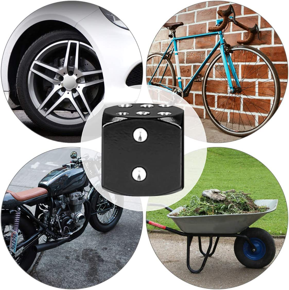 Fliyeong Premium Quality Dust Caps 4x Metal Dice Bike Car Motorcycle ATV Tyre Tire Wheel Valve Dust Caps Covers Black