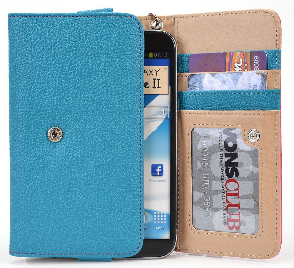 Amazon.com: Teal/Hot Pink Vodafone Smart prime 6, Smart 4 power turbo Case | Cell phone Wallet & Wristlet for Women: Cell Phones & Accessories