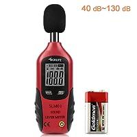 Schallpegelmessgerät, Tacklife SLM01 Klassischer Schallpegelmesser, Lärm Messgerät Datenspeicherfunktion Abschaltautomatik 40~ 130 dB Rot, LCD-Anzeige, Hintergrundbeleuchtung, 9 V Batterie Enthalten