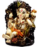 Indian Hand Carved God Baby Ganesha Resin Idol Sculpture Statue Size 5.7 Inches