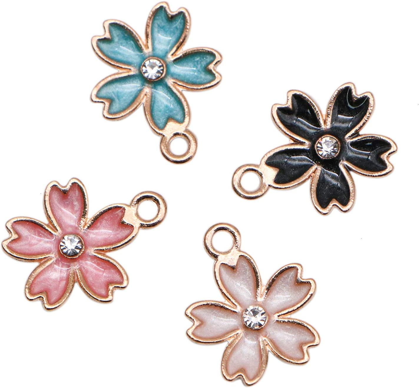 10pcs Mixed Color Cute Enamel Small Flower Charms Pendant DIY Earrings Necklace