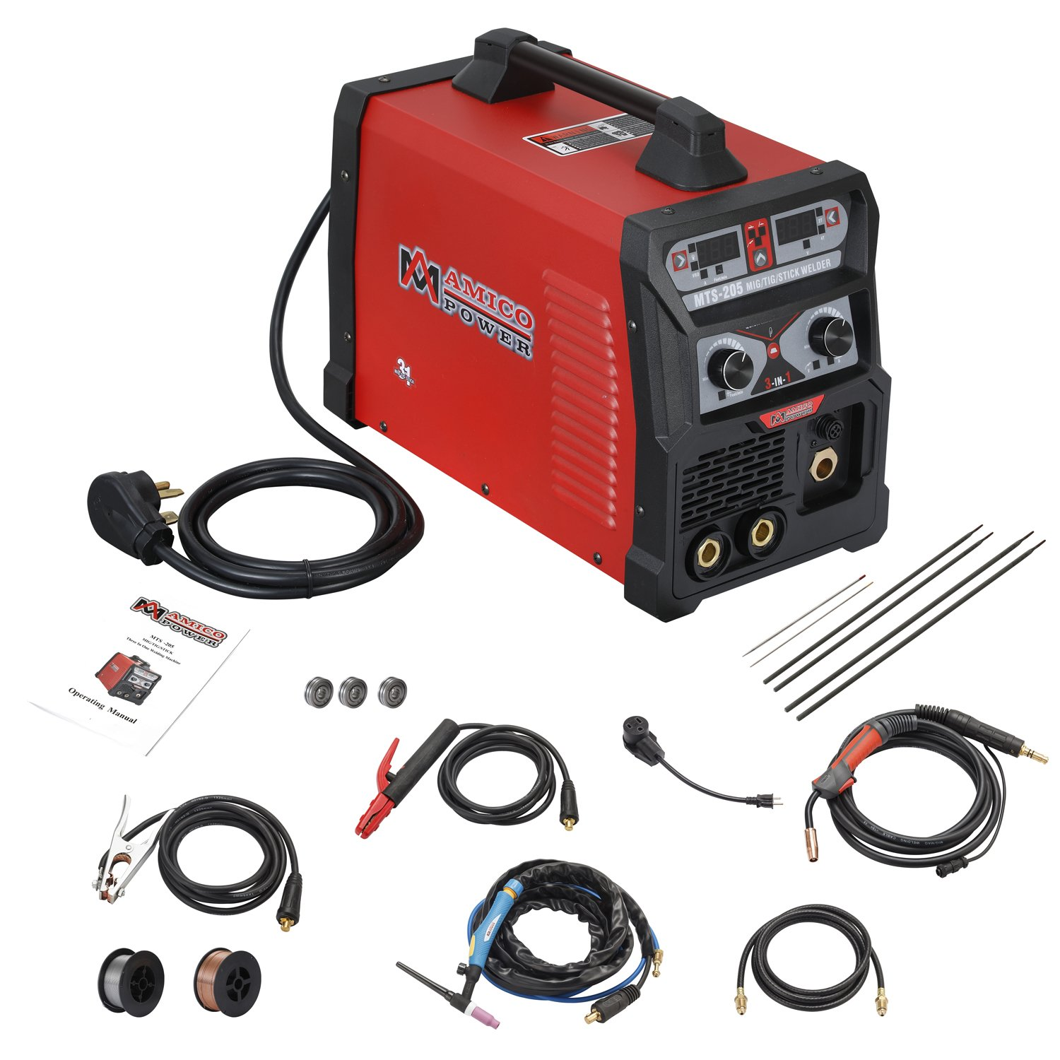 MTS-205 205 Amp MIG/TIG-Torch/Stick Arc Combo Welder, Weld Aluminum(MIG) 110/230V  Dual Voltage Welding - - Amazon.com