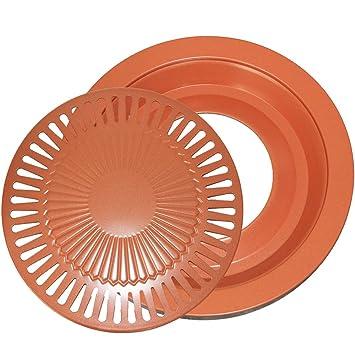 CHEFHUB - Parrilla de cobre sin humo para barbacoa de interior, acero al carbono con