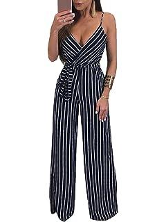 a53eae6141d Glamaker Women s Sexy Deep V Neck Strap Backless Tie Waist Jumpsuit  Sleeveless Wide Leg Pants Suit