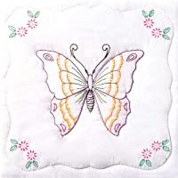 Jack Dempsey Stamped White Quilt Blocks, 9 by 9-Inch, Butterfly, 2-Pack