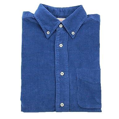 532862b3 Bii Free Men's Casual Shirts 100% Cotton Corduroy Shirt (Small, Blue)