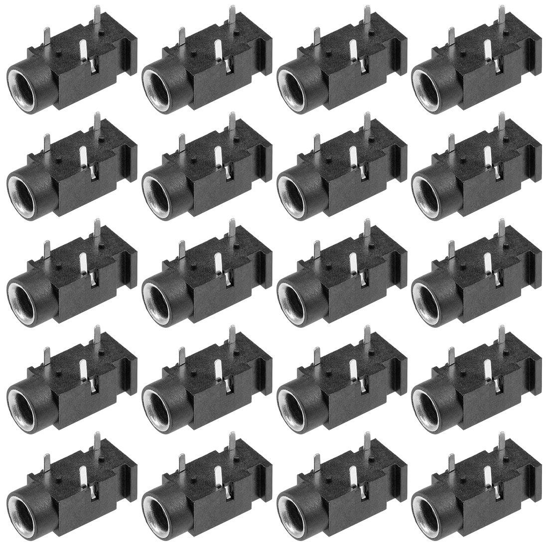 uxcell 20Pcs PCB Mount 3.5mm 3 Pin Socket Headphone Stereo Jack Audio Video Connector Black PJ320
