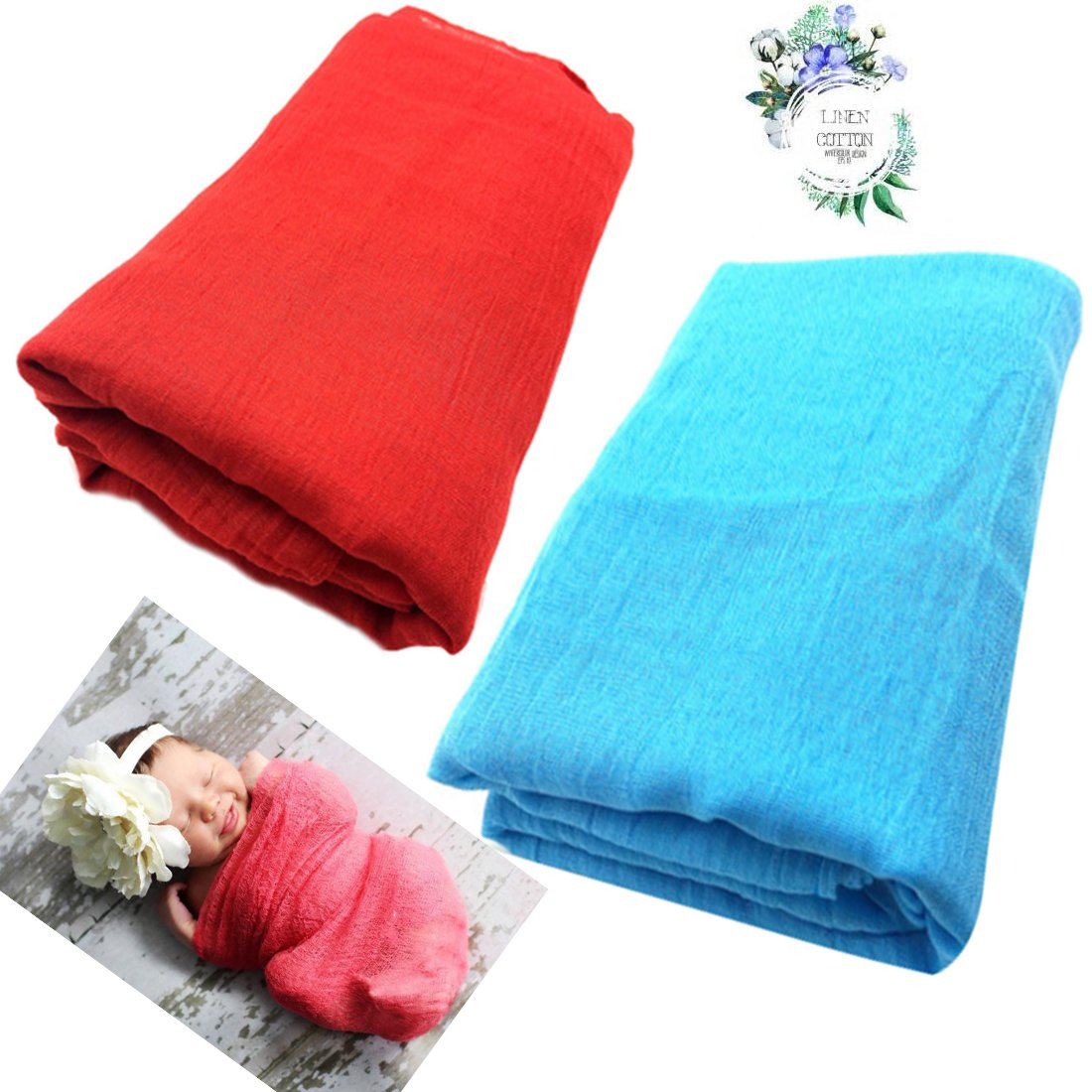 2-Pack Baby Wraps Newborn Photo Props Wraps Cotton & Linen Baby Stretch Wraps October Elf OE433BC
