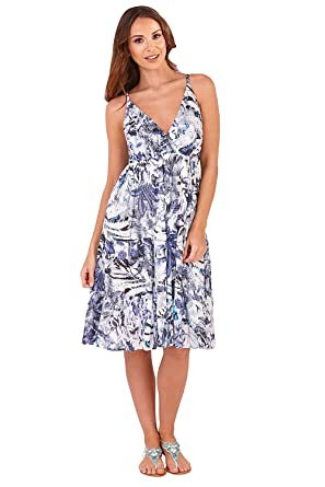 cce27de85a6 Pistachio Womens Floral Print Cotton Strappy Short Dress Summer Beach Wear   Amazon.co.uk  Clothing