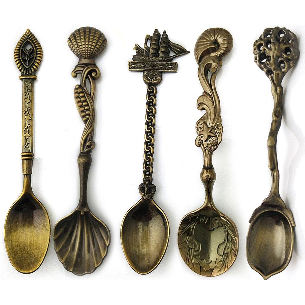 Gracorgzjs 5 Piezas de Cubiertos de Cocina de Bronce Tallado Vintage para postres de Cocina: Amazon.es: Hogar