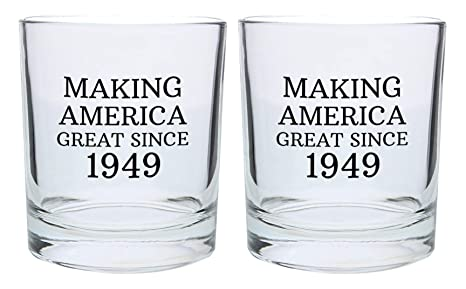 70th Birthday Gifts For Grandpa Grandma Making America Great Since 1949 70th Birthday Party Supplies Gift Lowball Glasses 2 Pack Round Lowball Tumbler