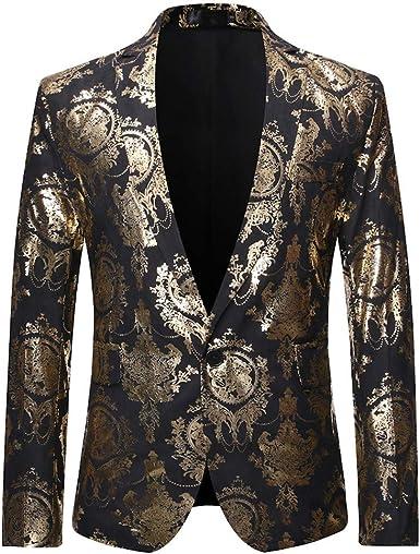 MOGU Mens Blazer Floral Printed Slim Fit Black Gold Jacket Suit