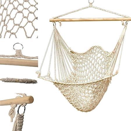 Amazon Com Hammock Hanging Swing Chair Cradle Patio Porch Tree Wood Cotton Rope Yard Sky Garden Outdoor