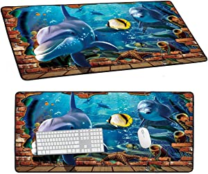 Desk Large Mouse Pad, 3D Dolphin Pattern Mousepad for Laptop Keyboard, Idea Gift XXL Long Office Gaming Mat 1 Pcs,