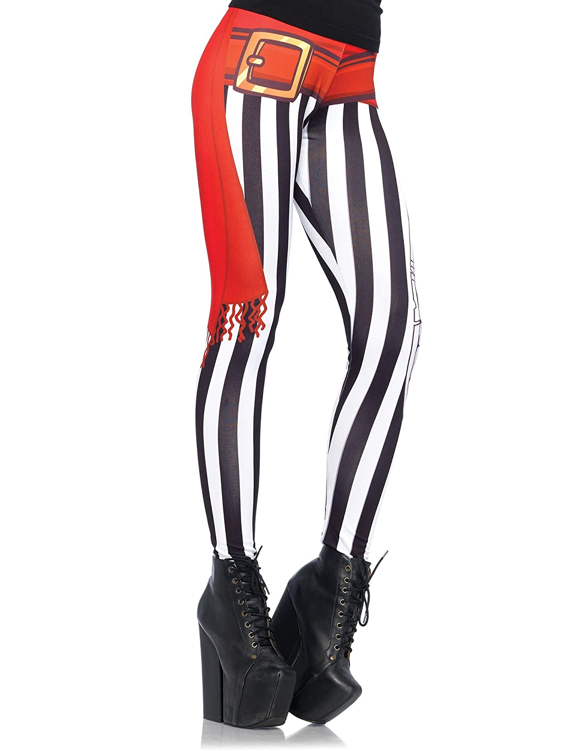 Women's Black And White Vertical Stripe Swashbuckler Pirate Costume Leggings by Leg Avenue - DeluxeAdultCostumes.com