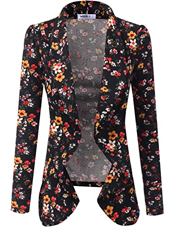 3ee4f6f94b9 Doublju Classic Collarless Open Front Blazer Jacket for Women with ...