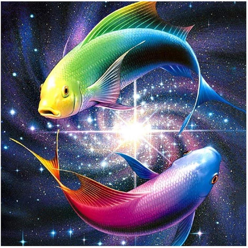 5D DIY Diamond Painting Diamante Pintura Resina KitRotación de Feng Shui de pescado bicolortaladro completo cristal rhinestone bordado artes creativo decoración pared hogar—Square diamond,60x60cm