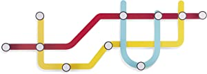 Umbra Subway Wall Hook - Multicolored Modern Public Transit Maps Shape Coated Steel 10-Hooks Wall Hanger - Easy To Mount, Perfect for Scarves, Coats in Entryway - Each Hook Holds Up to 5 lbs