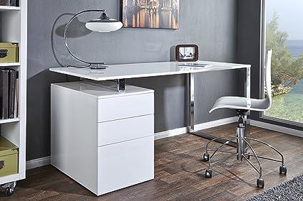 Bureau design compact blanc brillant bureau table 160 cm chrome