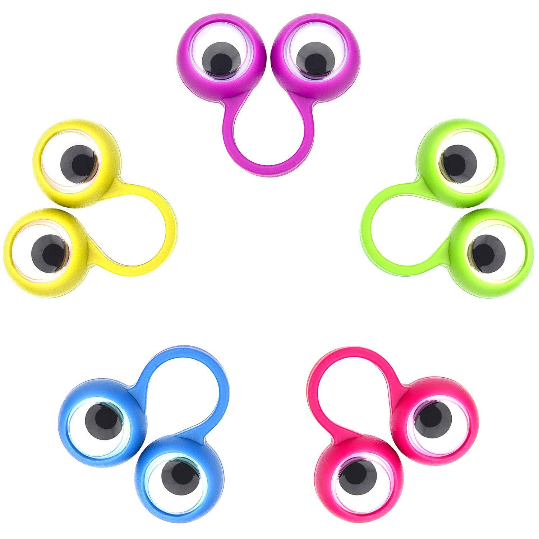 Jovitec 48 Pieces Googly Eye Finger Puppets Wiggly Eyeball Finger Puppet Rings Eye Finger Toy for Kids Party Favor 5 Colors
