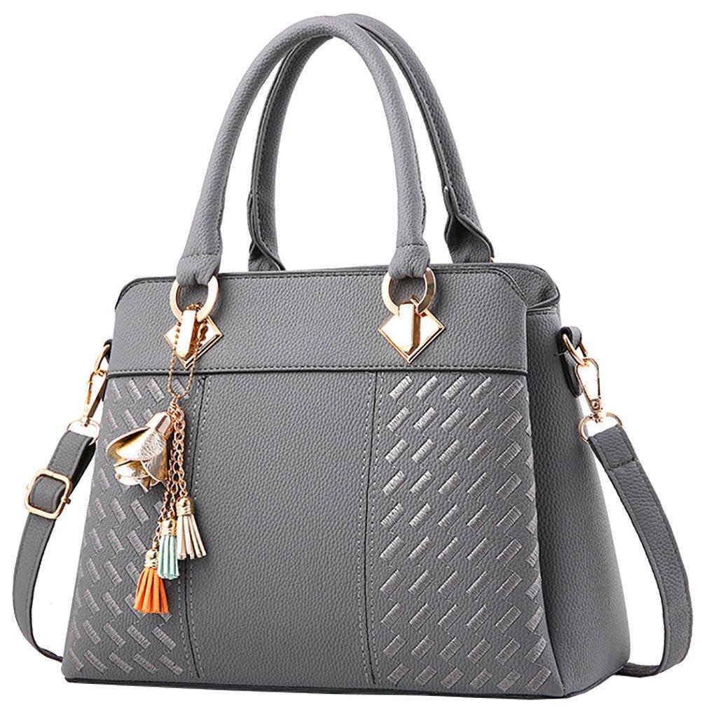 Damen Handtasche Damen Große Mode-Design Tragetaschen Damen Umhängetasche Top Griff Taschen(Grau)