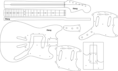 Amazon Com Electric Guitar Layout Template Stang Musical Instruments