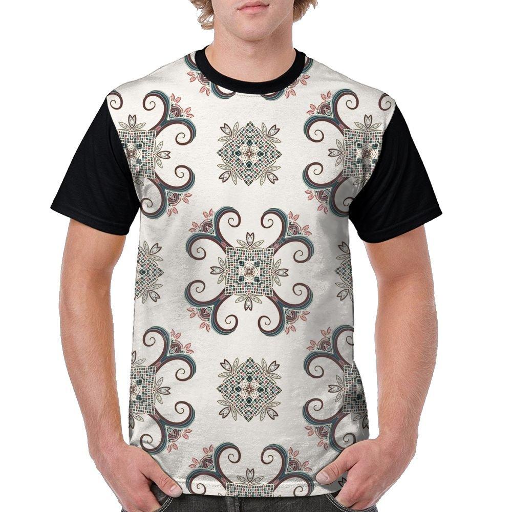 Boho Style Ethnic Pattern Men's Raglan Short Sleeve Tops T-Shirt Popular Undershirts Baseball Tees by CKS DA WUQ