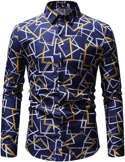 Camisa Hawaiana de los hombres Camisa casual de manga larga ...