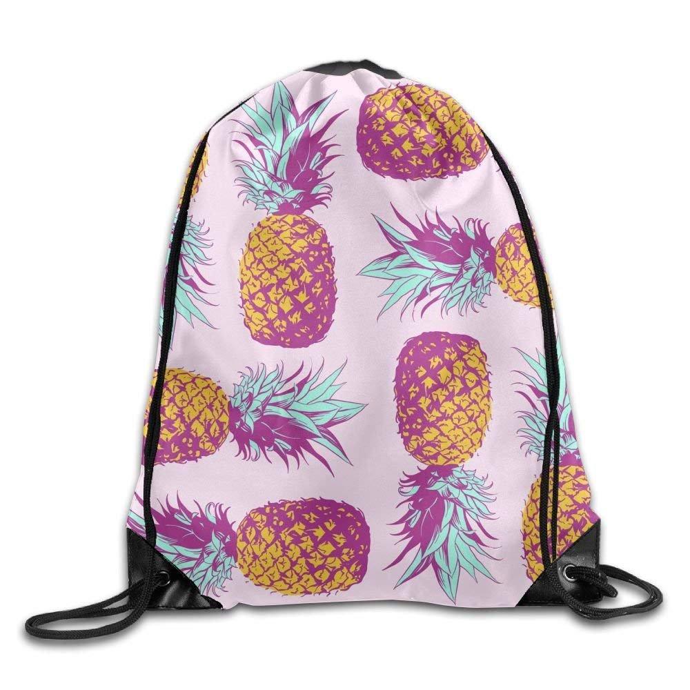 Drawstring Bag Gym Bag Travel Backpack, Pineapples Pink, Canvas Drawstring Backpack for Women Men Adults