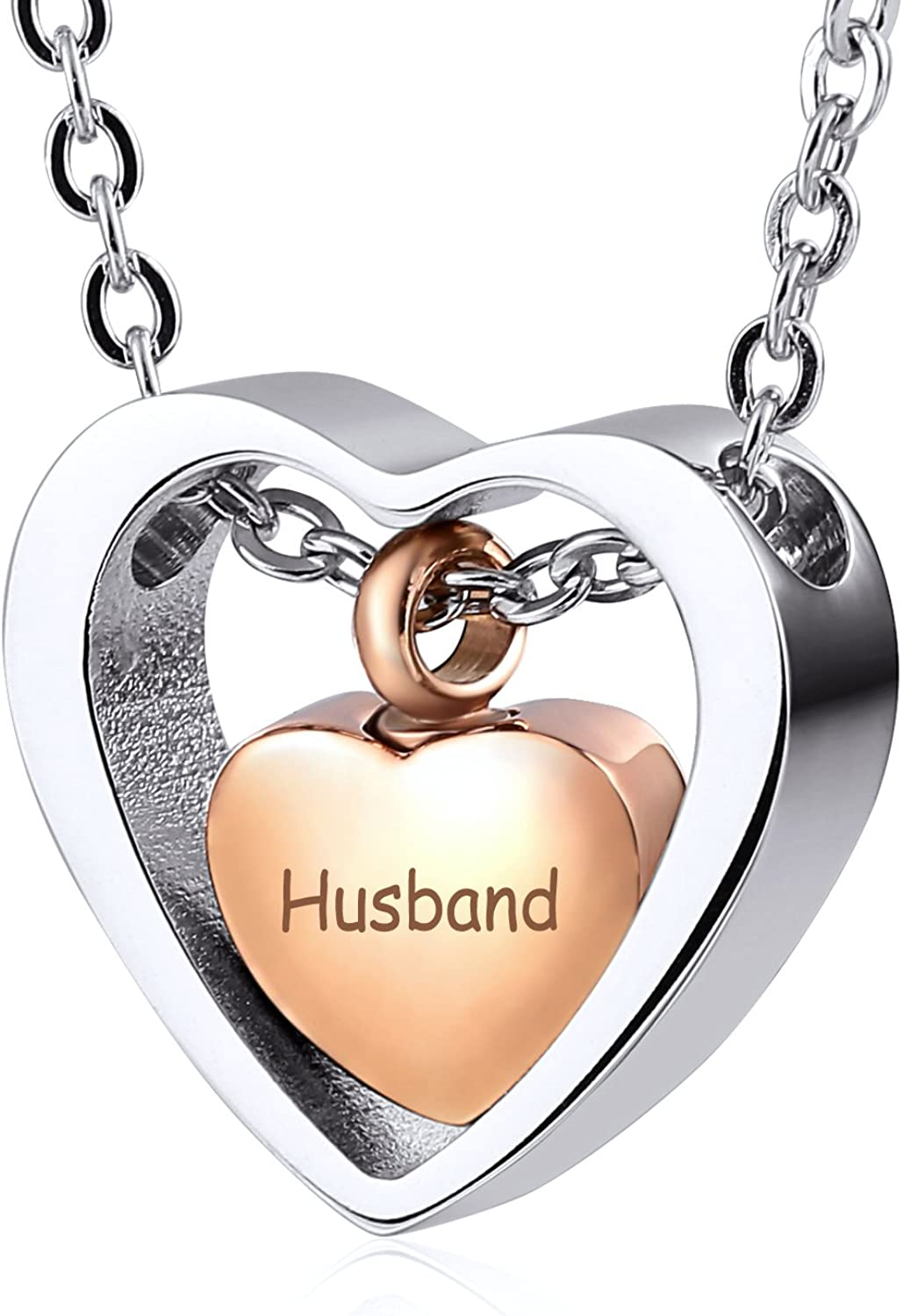 Aienid Silver Necklaces Personalised Ashes Pendant Heart Shaped Trap Love Black