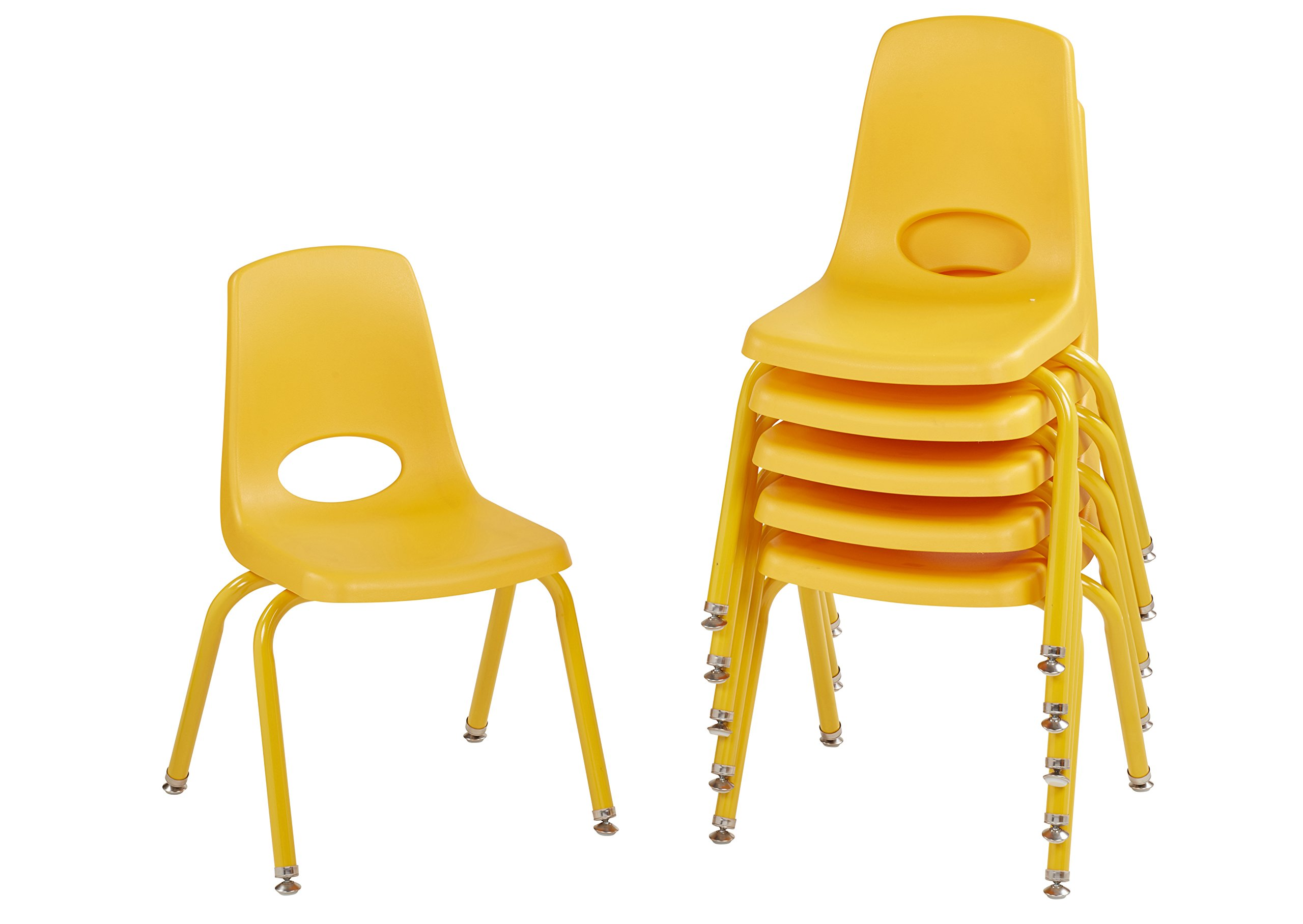 ECR4Kids 14'' School Stack Chair with Powder Coated Legs and Nylon Swivel Glides, Yellow (6-Pack) by ECR4Kids