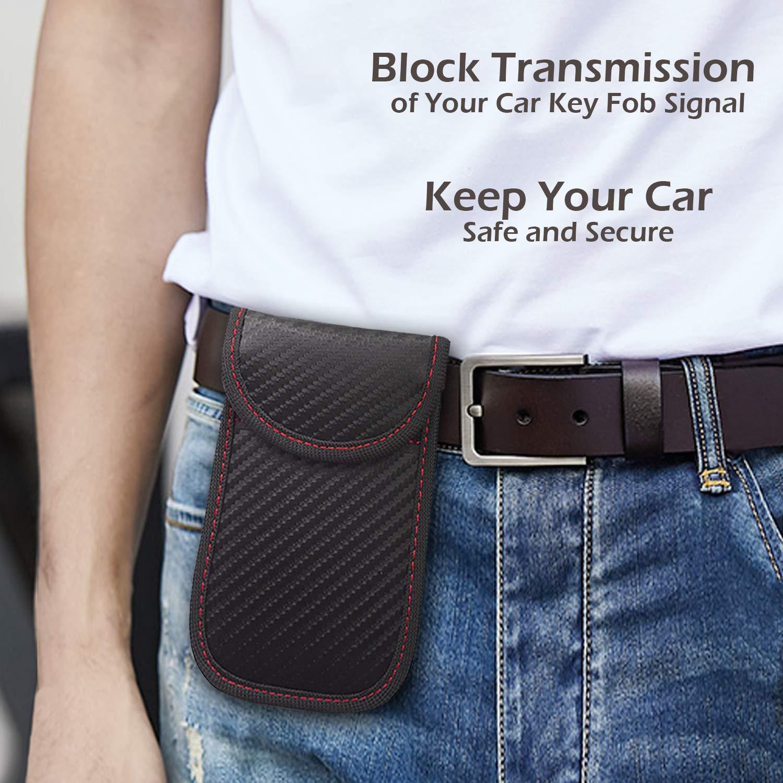 Car Key Signal Blocker Box Safe Box Key Fob Keyless Car Anti-Theft Keyless Faraday Signal Blocker RFID Signal Blocker Case Box with 2pcs Safe PU Leather Pouch Bag Vococal Faraday Box for Car Keys