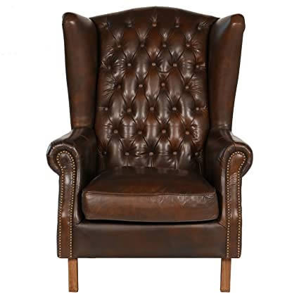Joseph Allen Old World Antique Leather Wing Chair