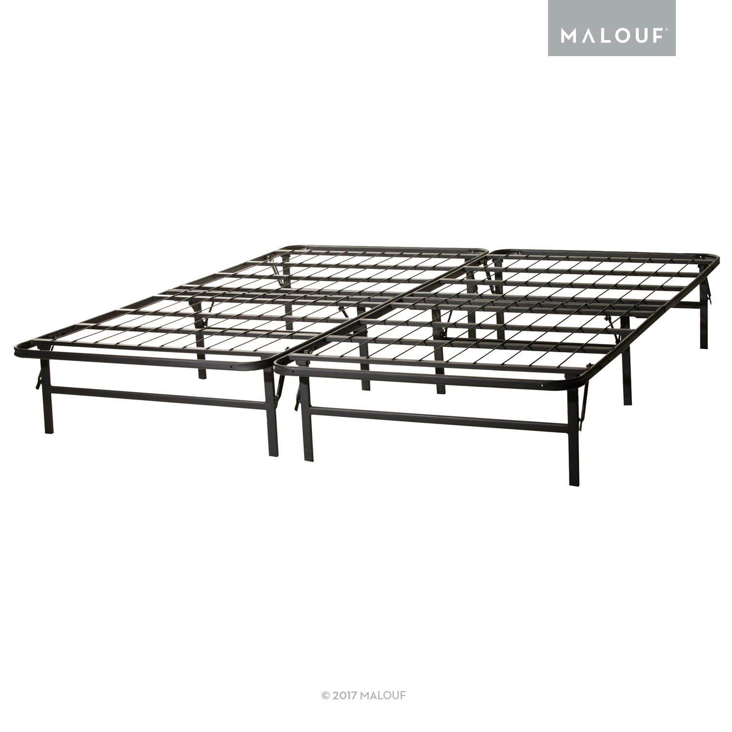 STRUCTURES by Malouf HIGHRISE Folding Metal Bed Frame 14 Inch High Bi-Fold Platform Bed Base and Box Spring
