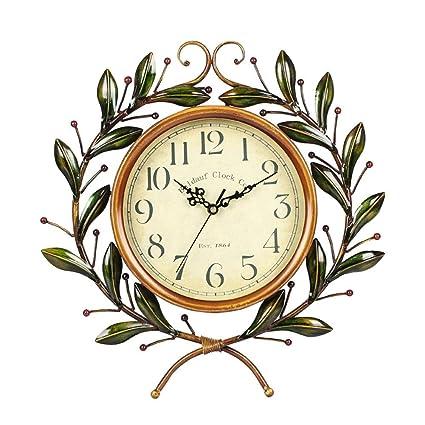 AIKE Hierro Reloj Pared, Europeo Estilo Rural Mudo Rama ...