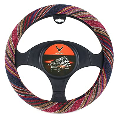15 inch New Baja Blanket Car Steering Wheel Cover Universal Fit Most Cars Bell Automotive Red Ethnic Style Coarse Flax Cloth: Automotive