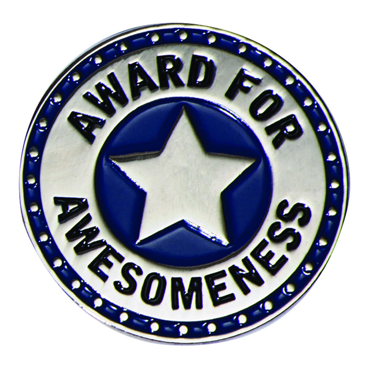 Award for Awesomeness Blue and Silver Appreciation Award Lapel Pins, 6 Pins