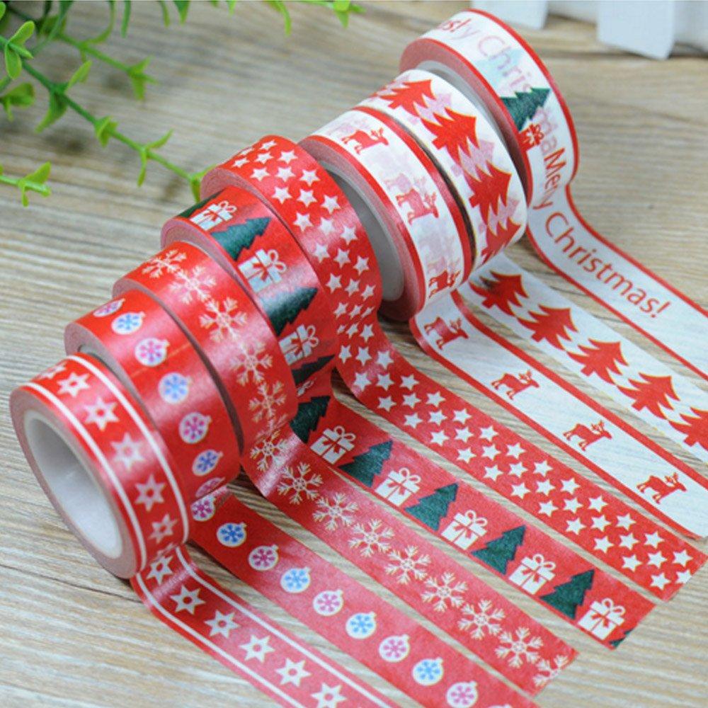 EDGEAM 8Pcs Washi Tape Set Natale Motivi Christmas Decorativi Nastro Adesivo di Carta Fai Da Te Scrapbooking ogni rotolo 15 x 10m Stil-SD1R