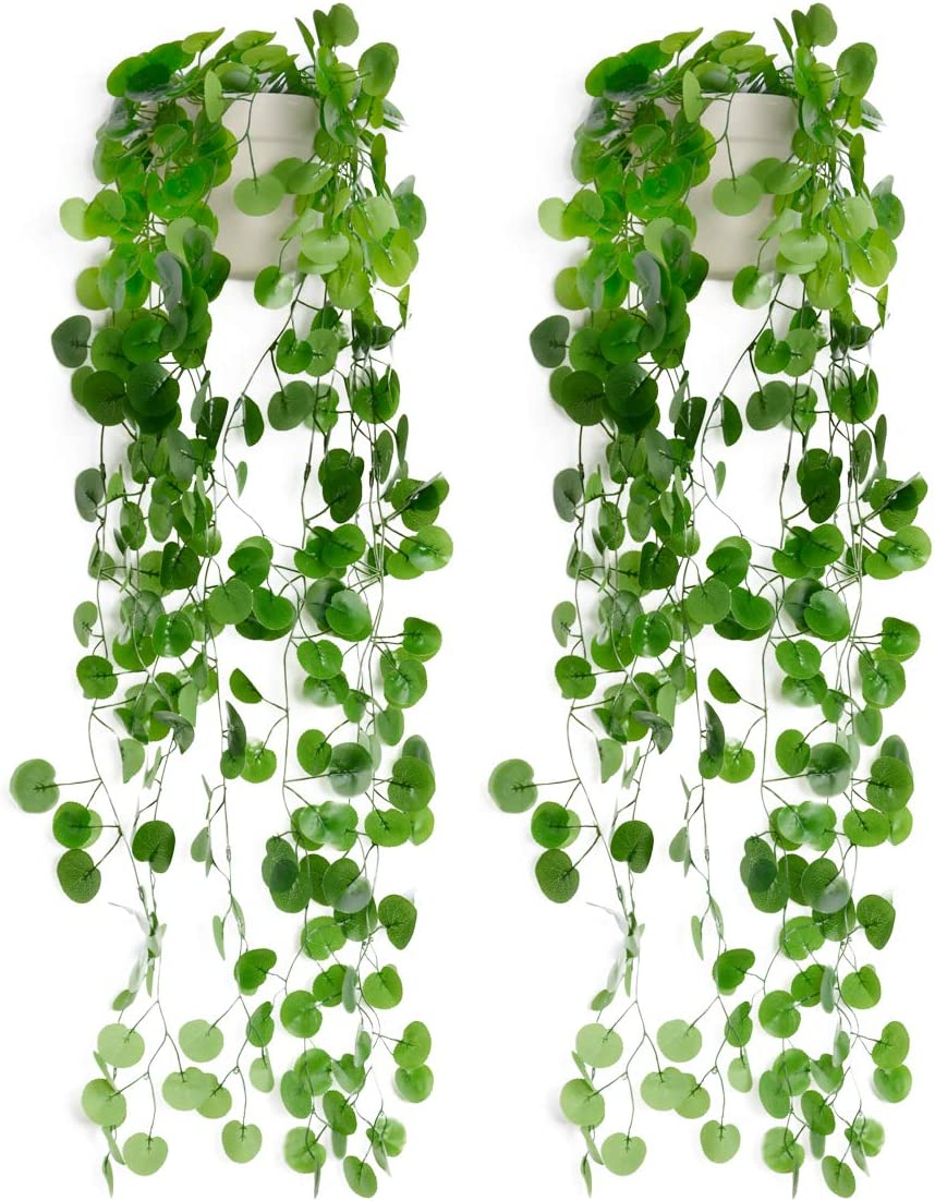 Fake Potted Hanging Plants, 2pcs Wall Planters with 4pcs Artificial Plants. Faux Greenery Fake Begonia Leaves Hanging Wall Vines for Room Decor Indoor, Outdoor, Balcony, Office, Home Gardening