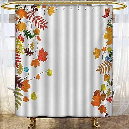 Lacencn HarvestShower Curtains WaterproofColorful Seasonal Maple Aspen Leaves Frame Fall Foliage Environment