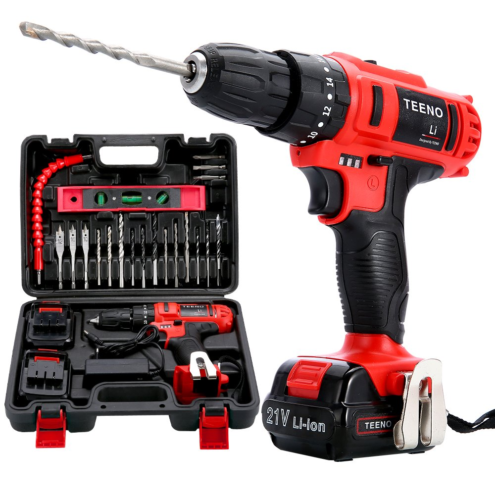 TEENO 21V Impact Cordless Drill Set with 2 Lithium Ion Batteries 1500mAh, 1 Hr Fast Charger,10mm Chuck,Variable Speed,25pcs Accessories
