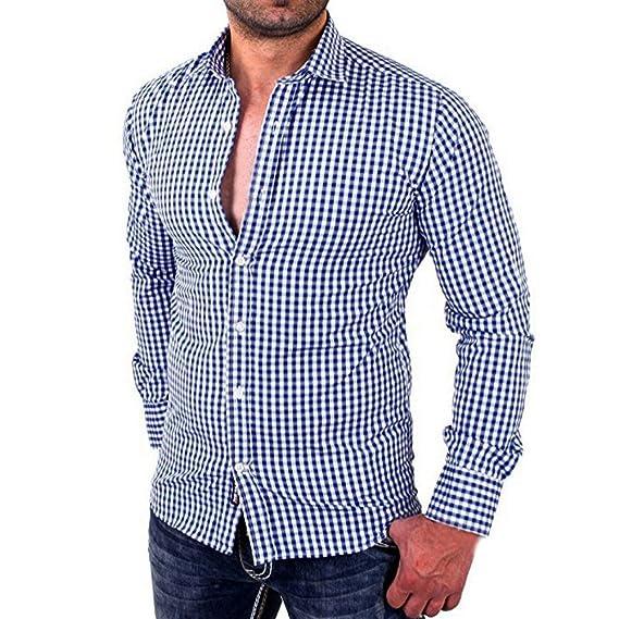 030c48dd3c808 Camisas de Cuadros de Hombres Camisa Casual de Negocios de Corte Slim y  Manga Larga Masculina Camiseta Casual Camisas Formales Chico ❤ Modaworld   ...