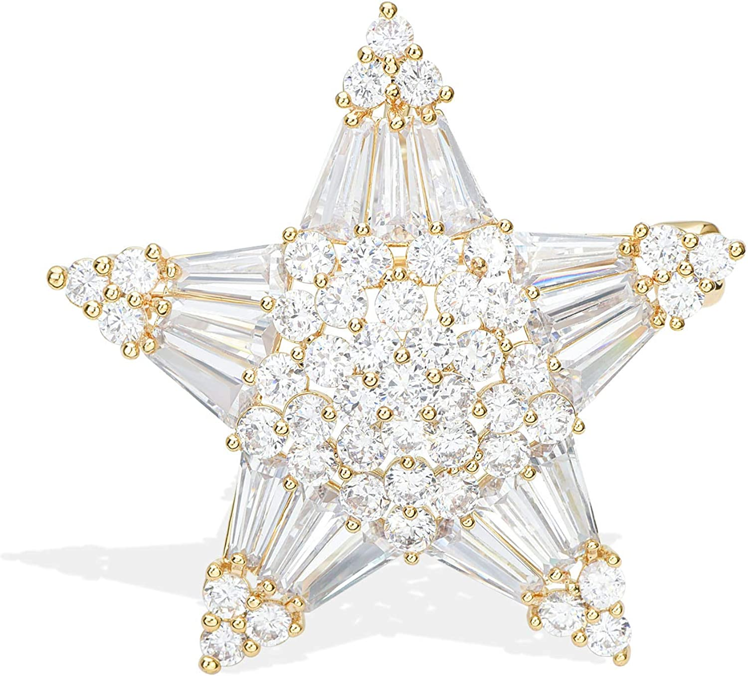 CHRISTMAS STAR MAGNETIC BROOCH Pearl White Blue Diamante STARS Scarf Pin Clips