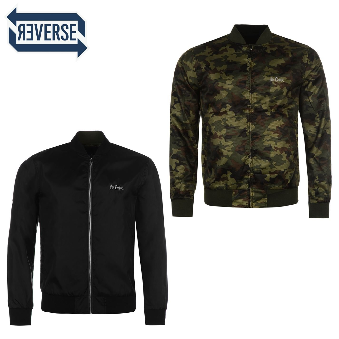 Lee Cooper Mens Reversible Jacket Rain Coat Top Zip Elasticated Trim Black/Camo Large