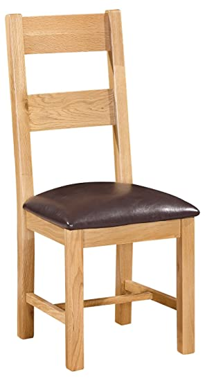 buy online dd36a 5da15 Solid Oak Ladder Back Dining Chair in Light Oak Finish with ...