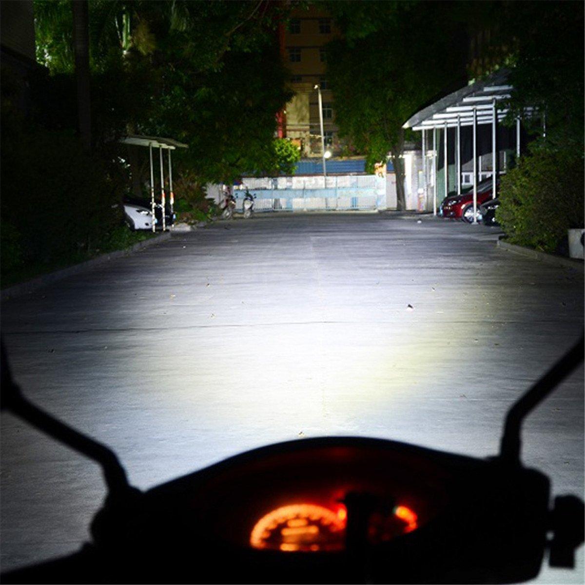 FEZZ LED Moto Bombillas Faro Scooter L�mpara Niebla H4 9003 HS1 18W 1000LM 6500K Blanca Hi Lo Beam con proyector