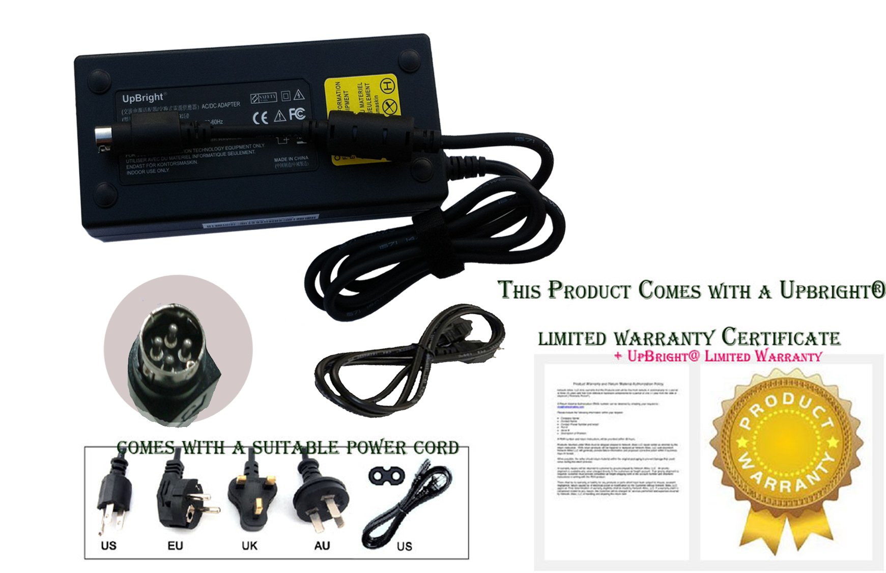 UpBright New 4-Pin DIN 48V AC / DC Adapter For Linksys Cisco Systems SG300-10P SG300-10PP SG300PP Small Business SRW2008P-K9-NA Gigabit PoE Managed Switch 48VDC 48-54V Power Supply Cord Charger PSU